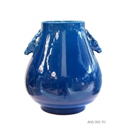 Vase deer handle turquoise