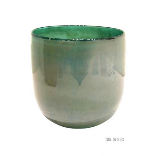 Round vase green aqua glow