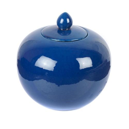 Ginger vase round glaze blue sapphire