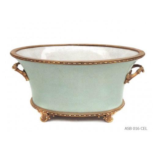 Oval bowl Napoleon III celadon