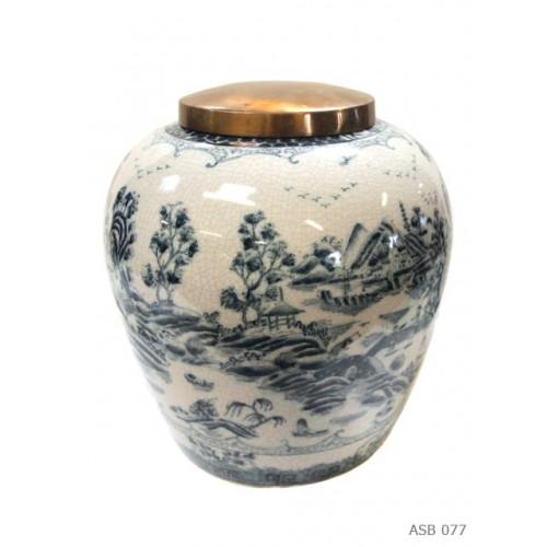 Ginger pot round blue white