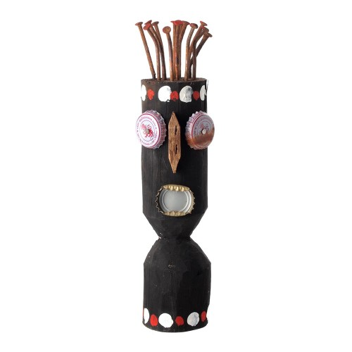 Wooden teak wood head with nails