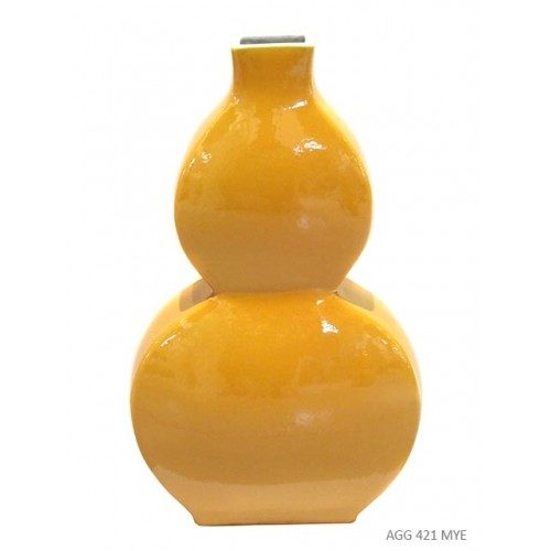 Vase gourde plat jaune imperial