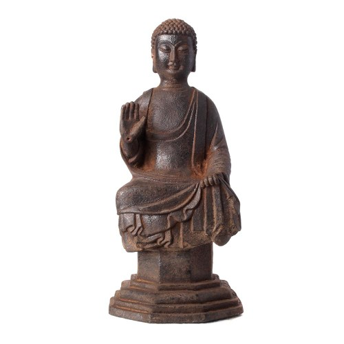Bouddha sur socle fonte de fer